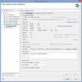 Eclipse Debug Configurations - Debugger settings