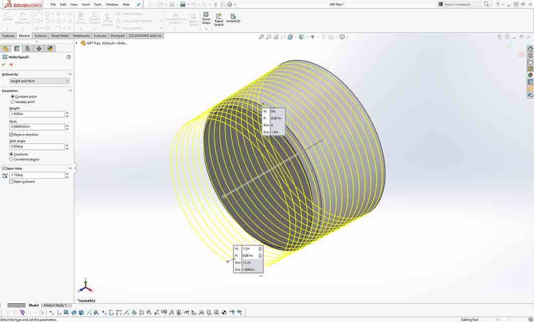 How To Model Npt Threads In Solidworks Hardware Software